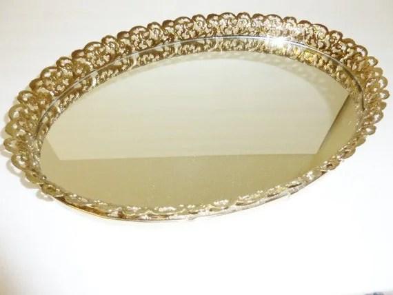 Vintage Oval Brass Mirror Vanity Tray Gold Filigree Open Metal