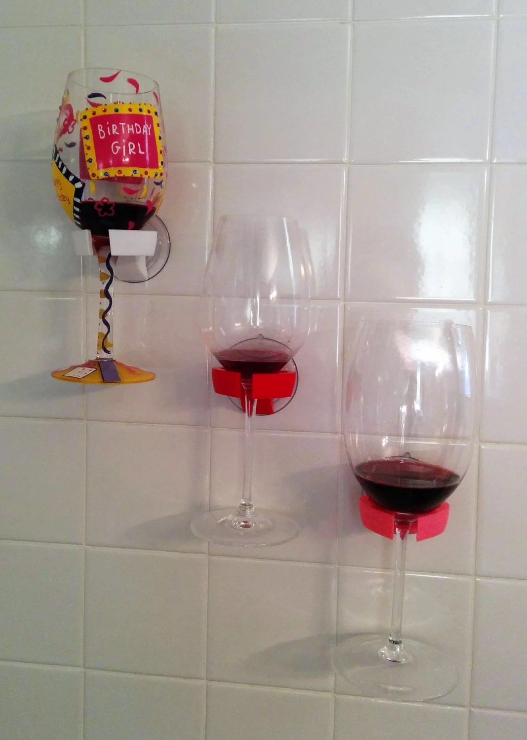 Wine Glass Holder Bathtub Shower Bathroom Valentines Day