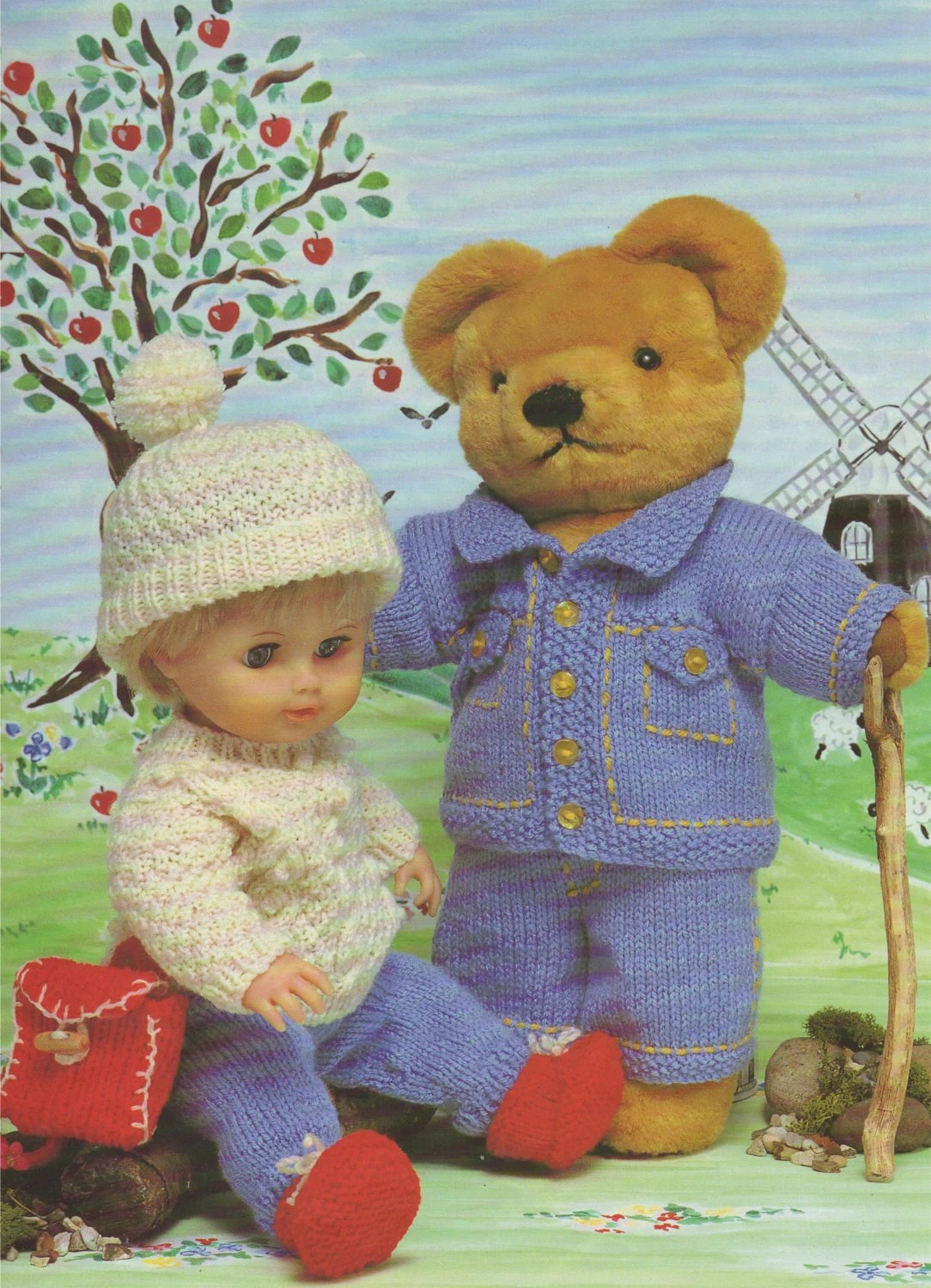 Teddy Bear And Dolls Clothes Knitting Pattern Dk