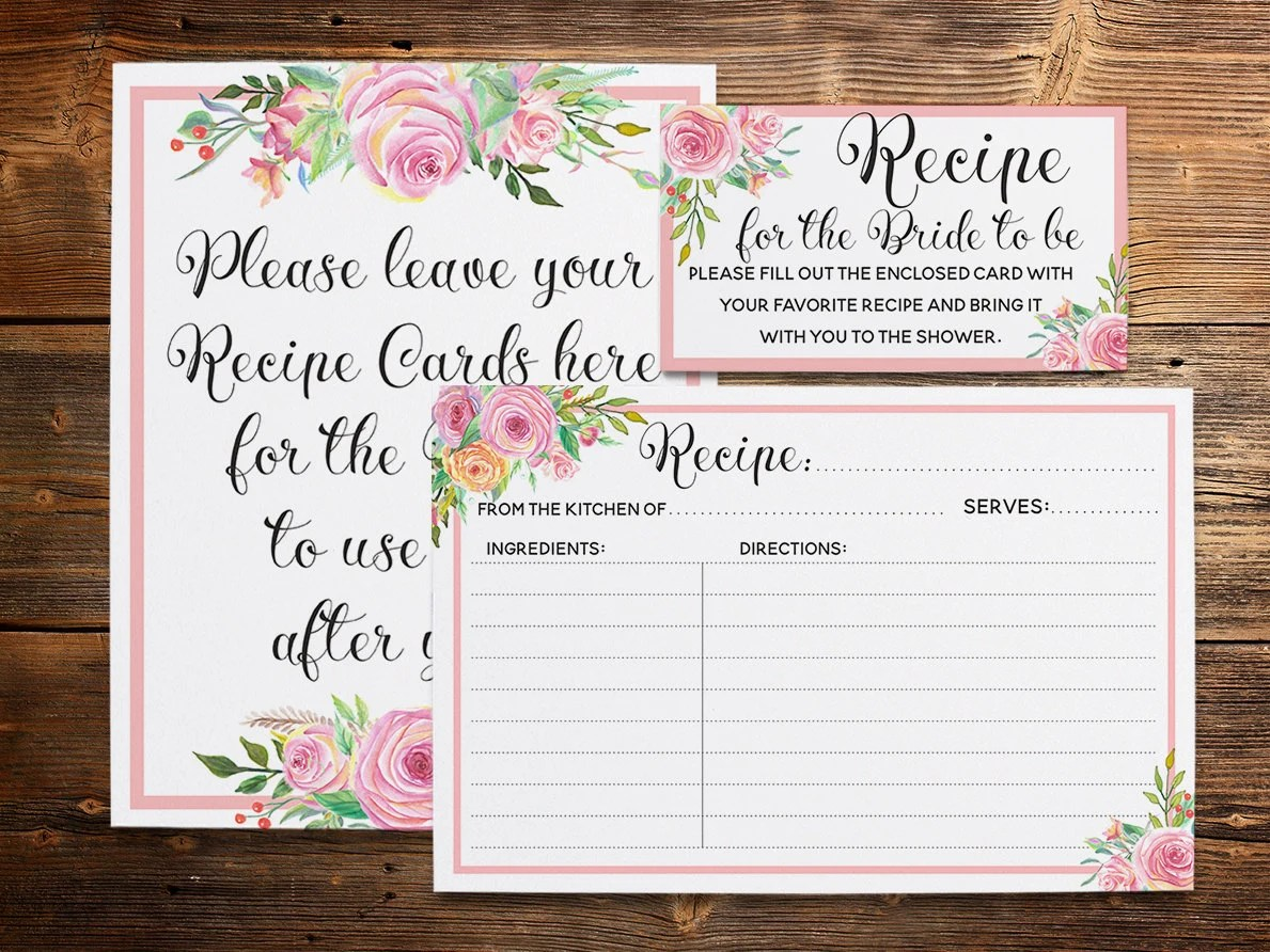 Floral Recipe Card Pink Recipe Cards Kitchen Bridal