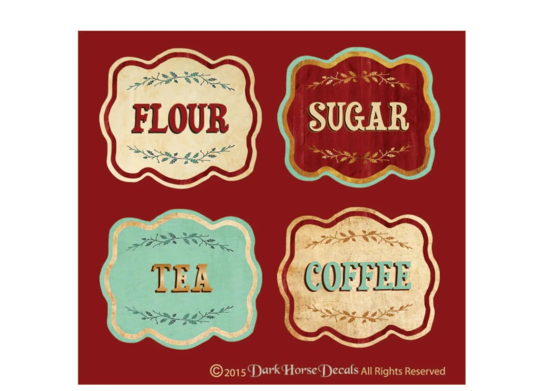 Vintage Style Canister Labels Set Of 4 Flour Sugar Tea