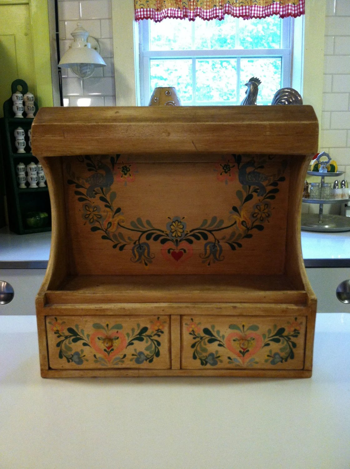 Antique Tole Painted Wooden Spice Rack With Pull Out Drawer