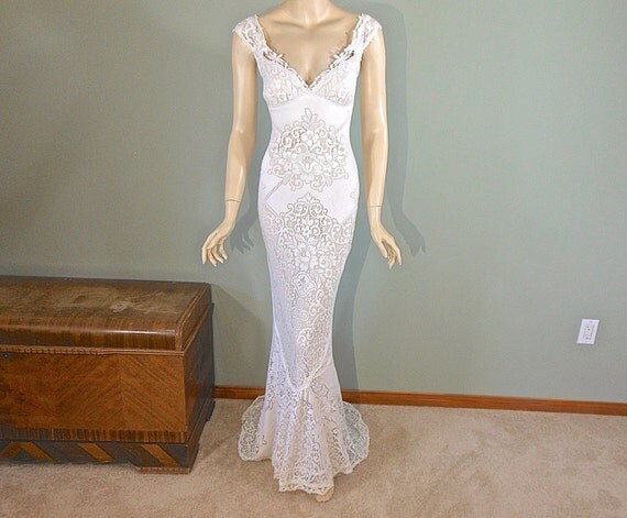 Off White MERMAID Lace Wedding Dress Boho Wedding Dress