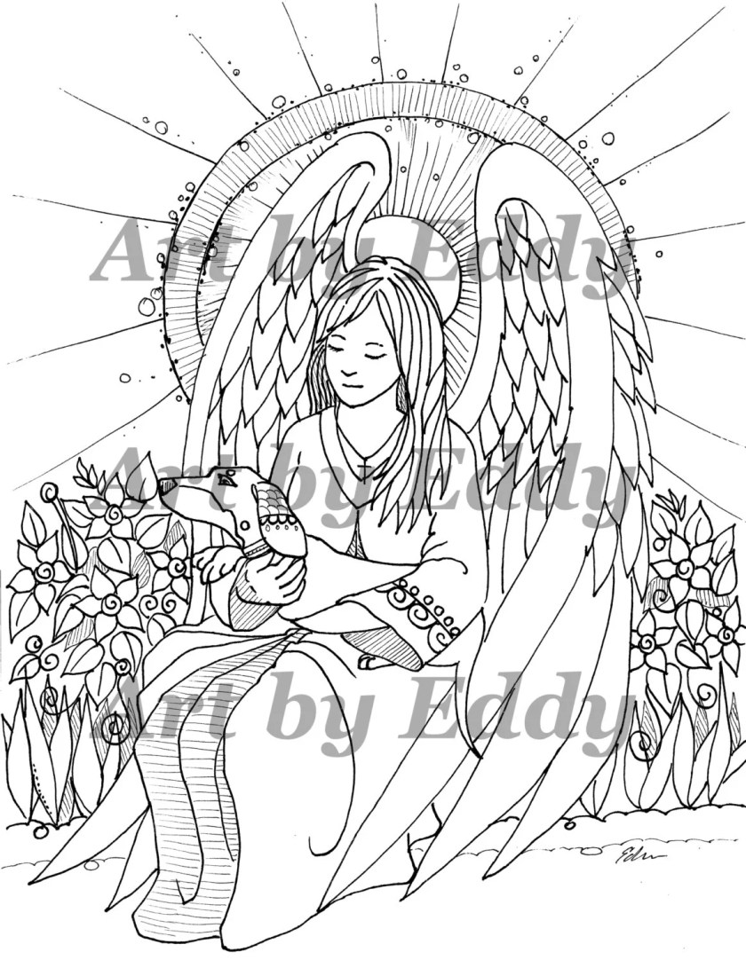 art of dachshund single coloring page angel doxie