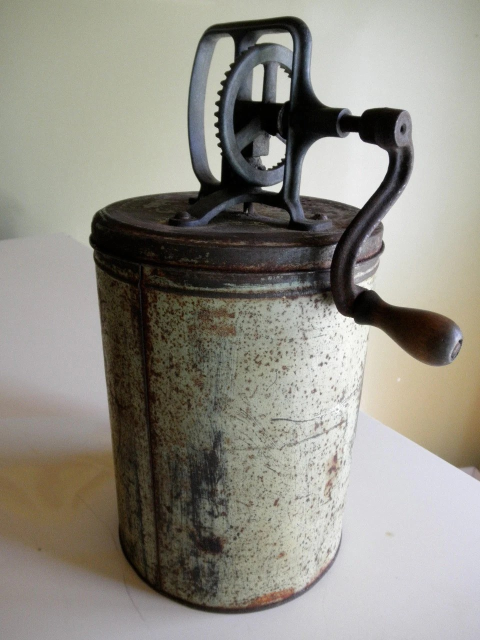 Antique Metal Butter Churn Country Kitchen Rustic Green Show