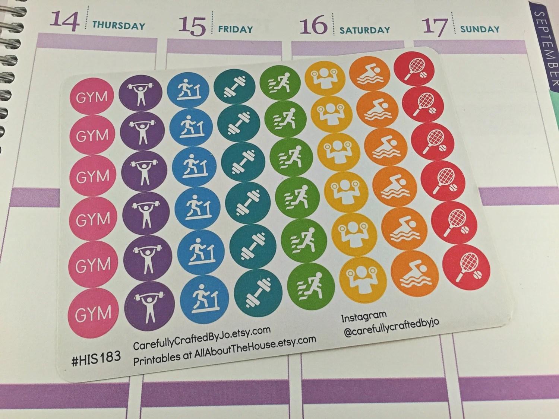 gym planner stickers, icon, fitness, exercise, rainbow, gym glass, treadmill, run, walk, steps, swimming, tennis, training, marathon, spot, planner printable