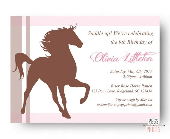 Horse Themed Birthday Party Invitations