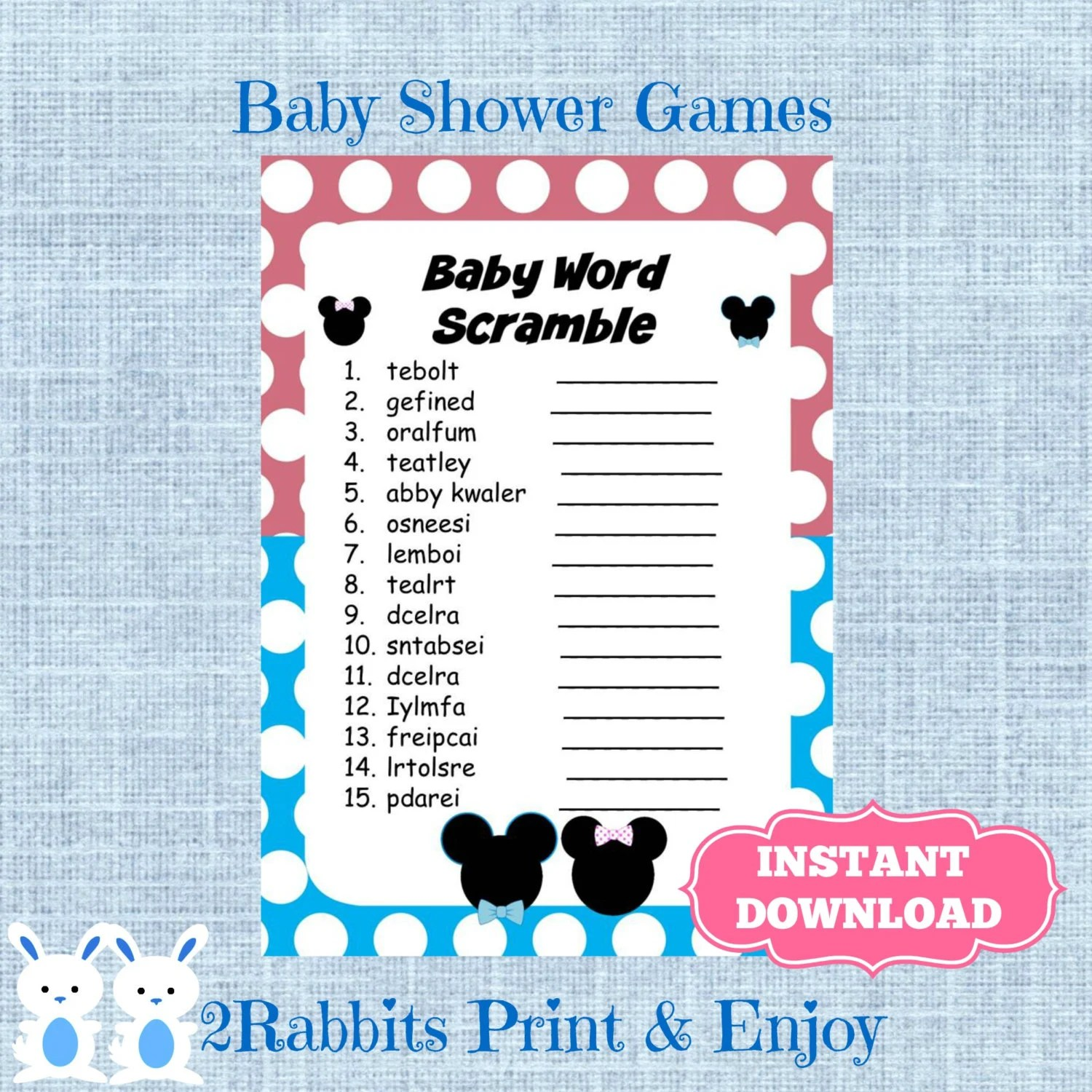 Gender Reveal Baby Shower Word Scramble With Answers Disney