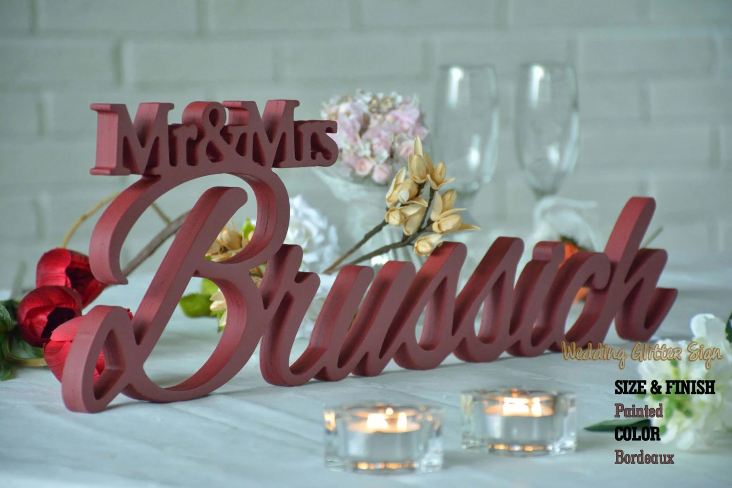 Mr Mrs Last Name Personalized Wedding Sign Mr & Mrs Family