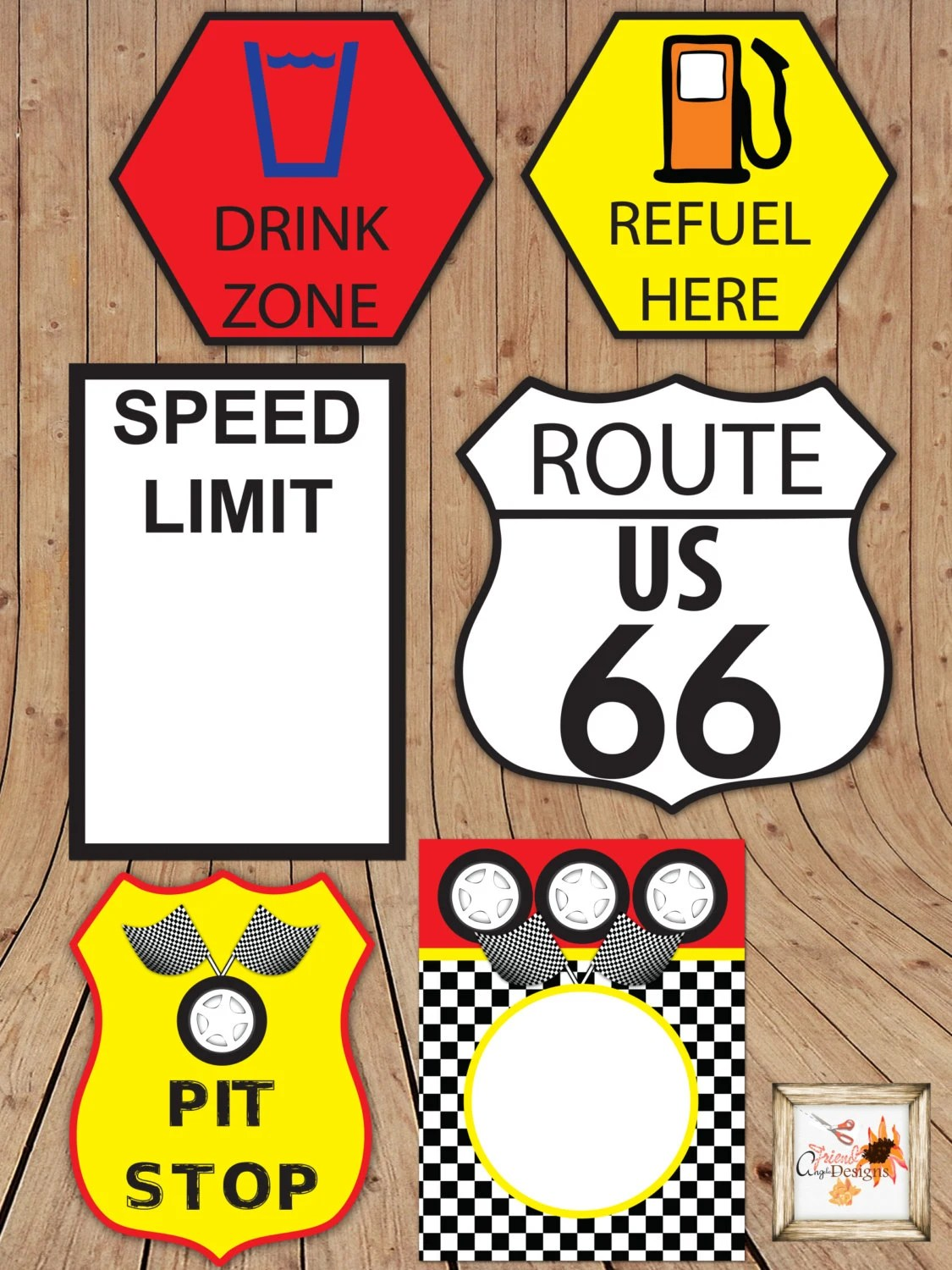 Race Car Themed Printable Party Road Signs In Microsoft Word