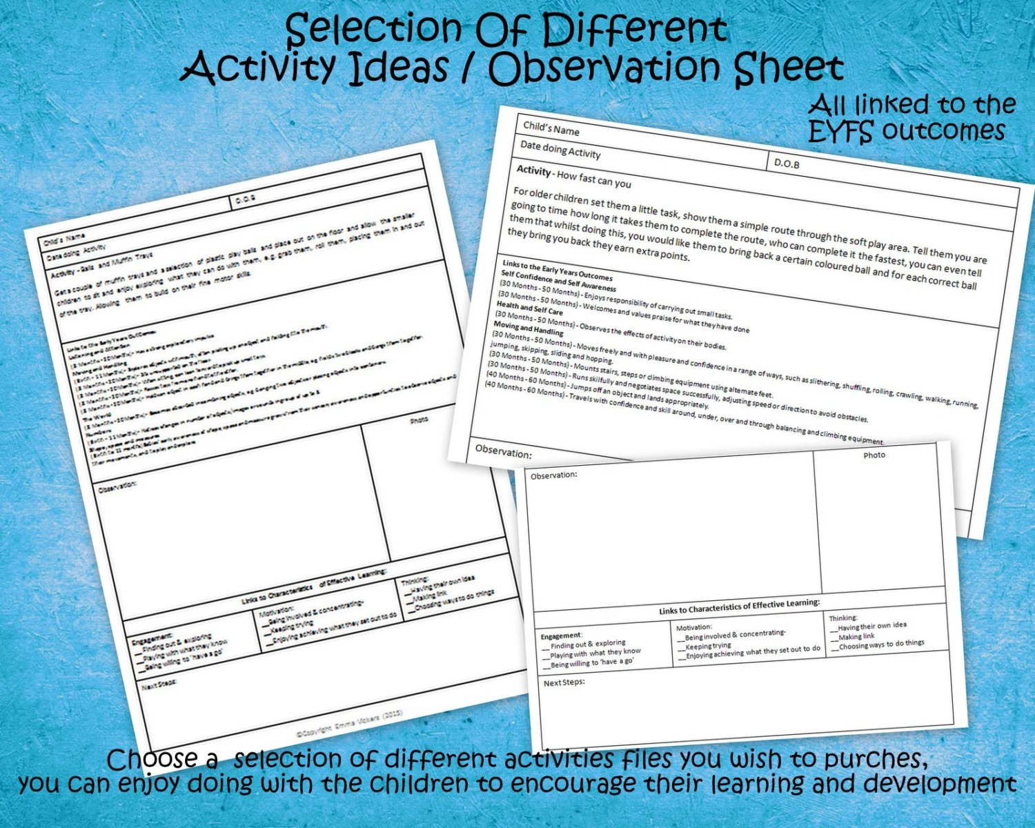 Selection Of 26 Different Activity Ideas Observation Sheets