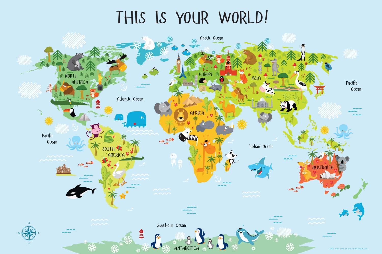 World Map For Kindergarten Afp Cv