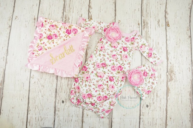 newborn girl gown, newborn girl take home outfit, newborn clothes, baby shower gift set, newborn girl outfit, hospital hat, custom blanket