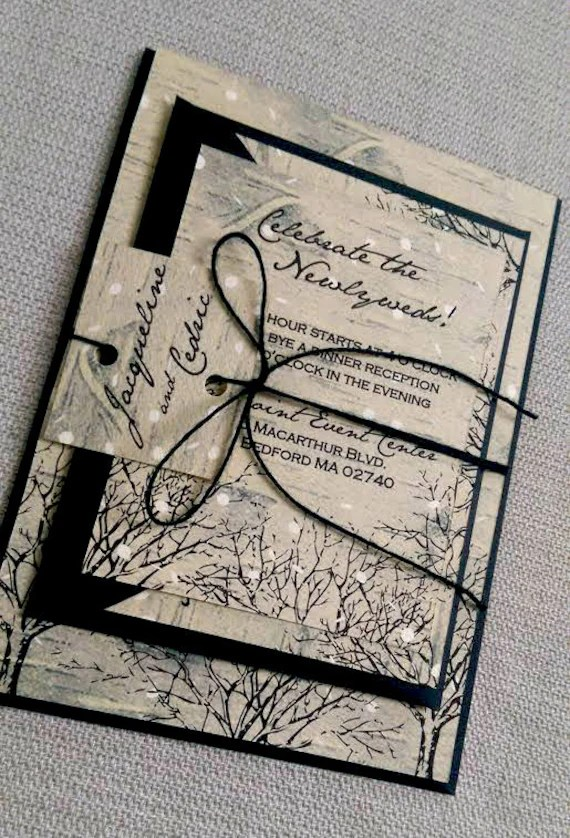 Black And White Wedding Invitations Trees