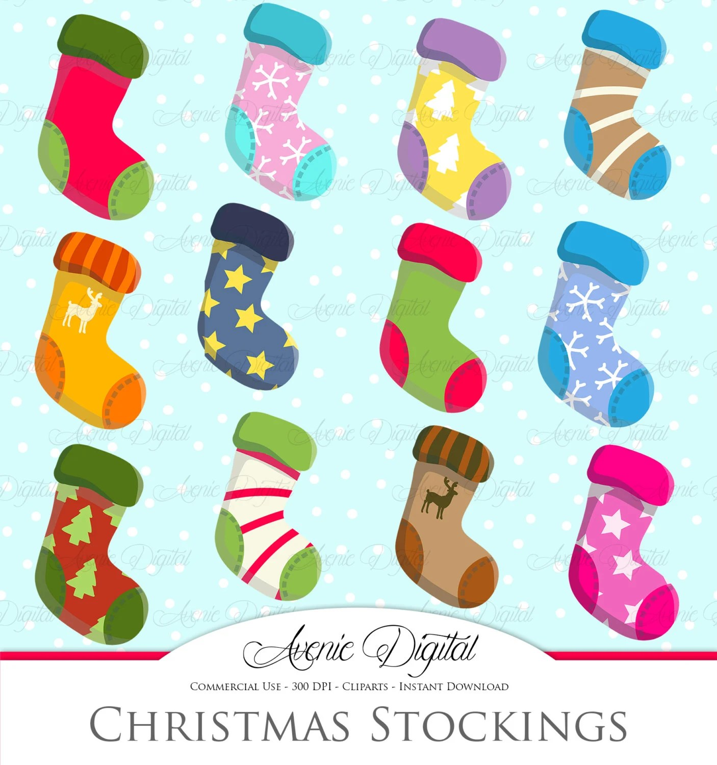 Christmas Stockings Clipart Scrapbook Printables Holiday Clip