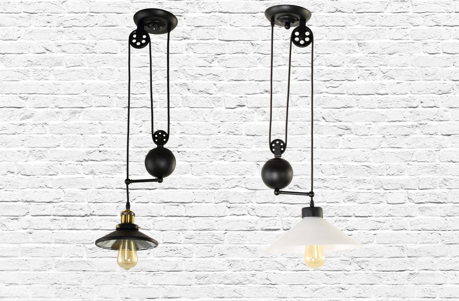 Iron Pendant Light Fixture With Pulley Vintage Industrial