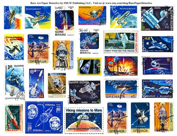 Space Postage Stamps Digital Stamp Collection Postal Stamp