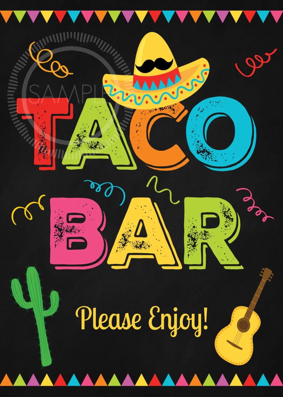 5x7 Printable Taco Bar Fiesta Cinco De Mayo Nacho Bar