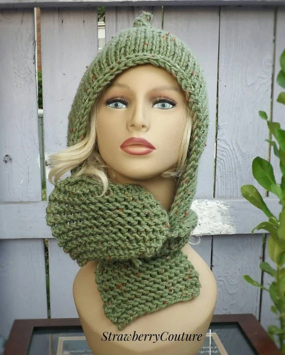 Knitting Pattern Hood With Ears : Hooded Knitted Scarf Pattern, Knitting Pattern, Knit Scarf ...