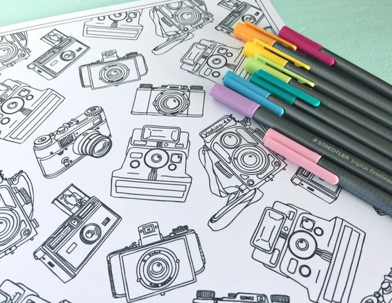 printable vintage cameras coloring page digital file instant