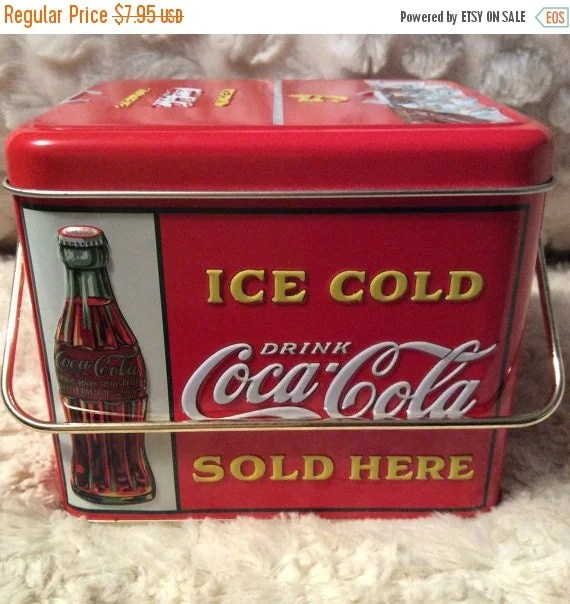 Thank You Sale Vintage Coke Bottle Cooler Tin Container