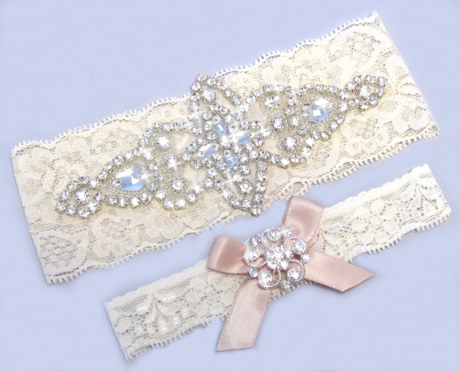 Blush Wedding Garter Ivory / White Lace Bridal Garter Garter