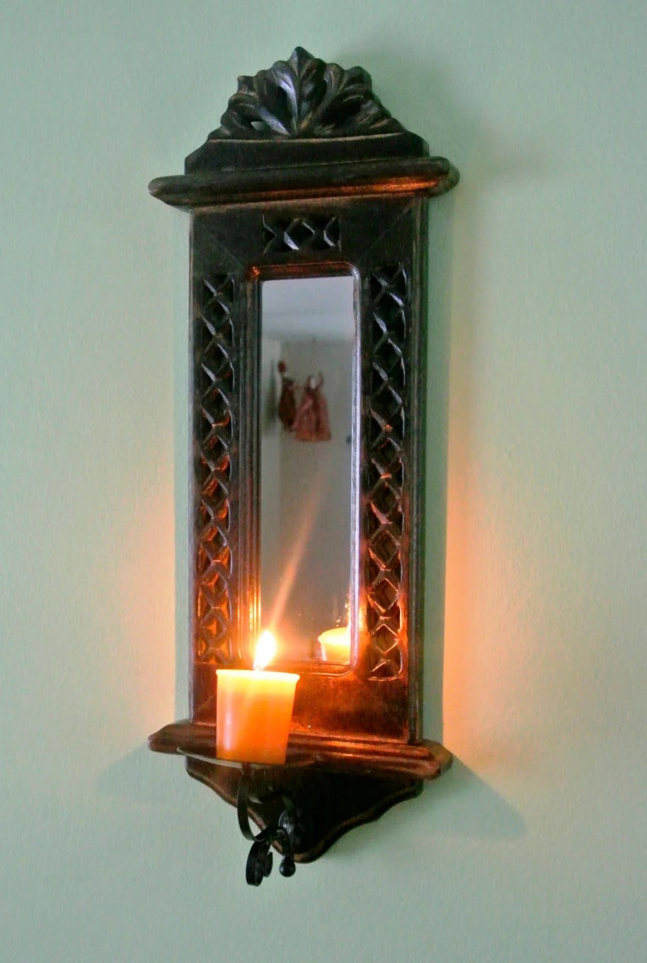 Classic Wooden Candle Holder with Mirror Wall Mount by ... on Wall Mounted Candle Holder id=48983