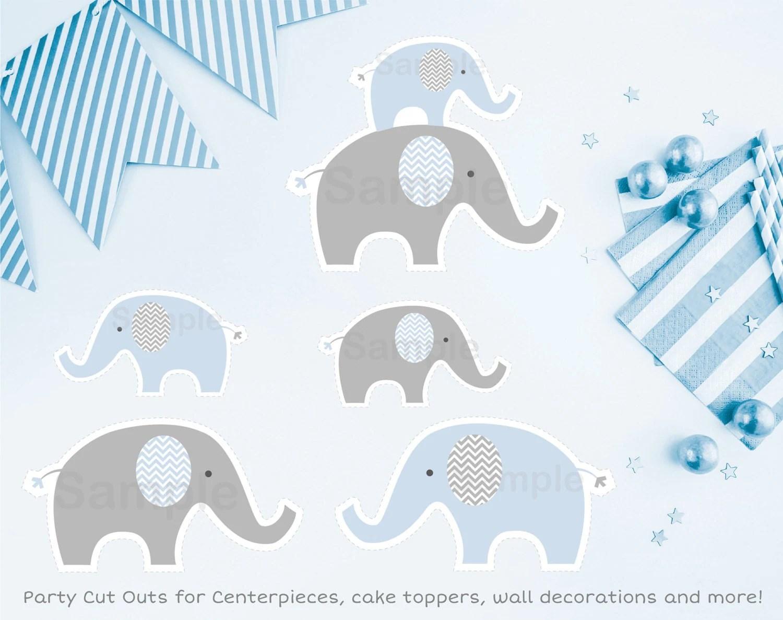 Cute Elephant Cut Outs Elephant Baby Shower Blue Elephant
