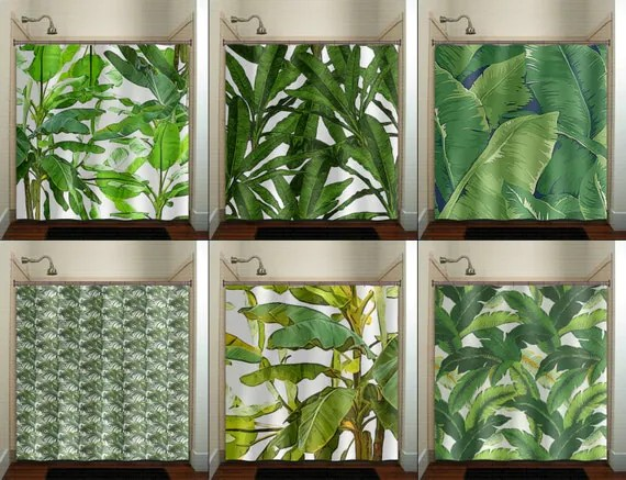 Tropical Jungle Green Palm Banana Leaf Shower By TablishedWorks