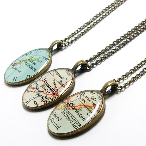 CUSTOM Map Oval Necklace. You Select Location. Anywhere In The World. One Necklace. Map Pendant. Map Jewelry. Personalized. Gifts For Her