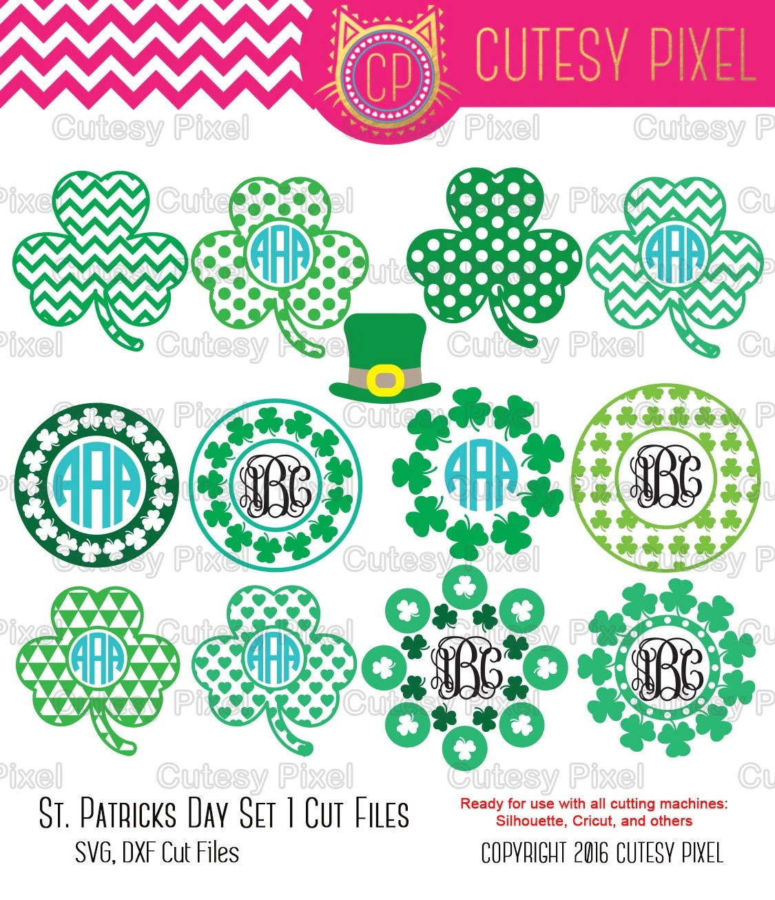 Download St. Patricks Day Monogram Frames Svg cutting file shamrock
