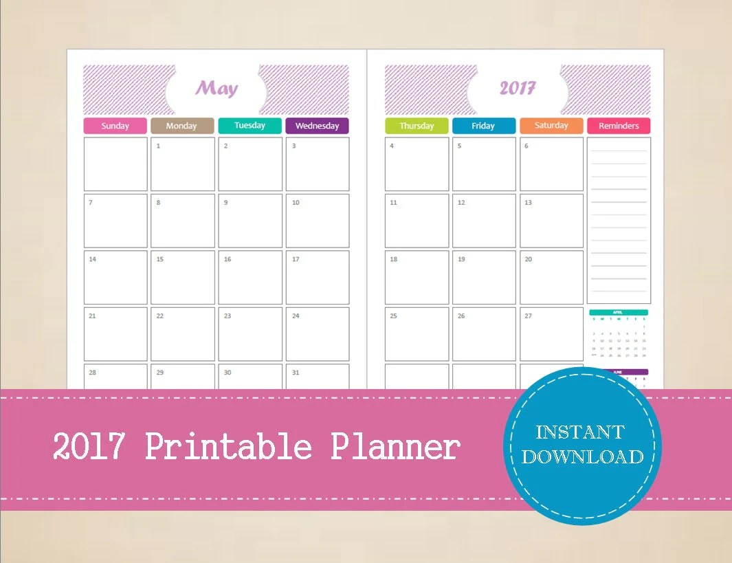 Printable Half Page Monthly Planner Editable