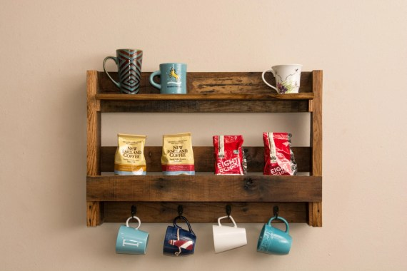 Creative Storage Ideas Coffee Mug Storage Coffee Station Pallet Upcycle Pallet Shelf Reuse Tea