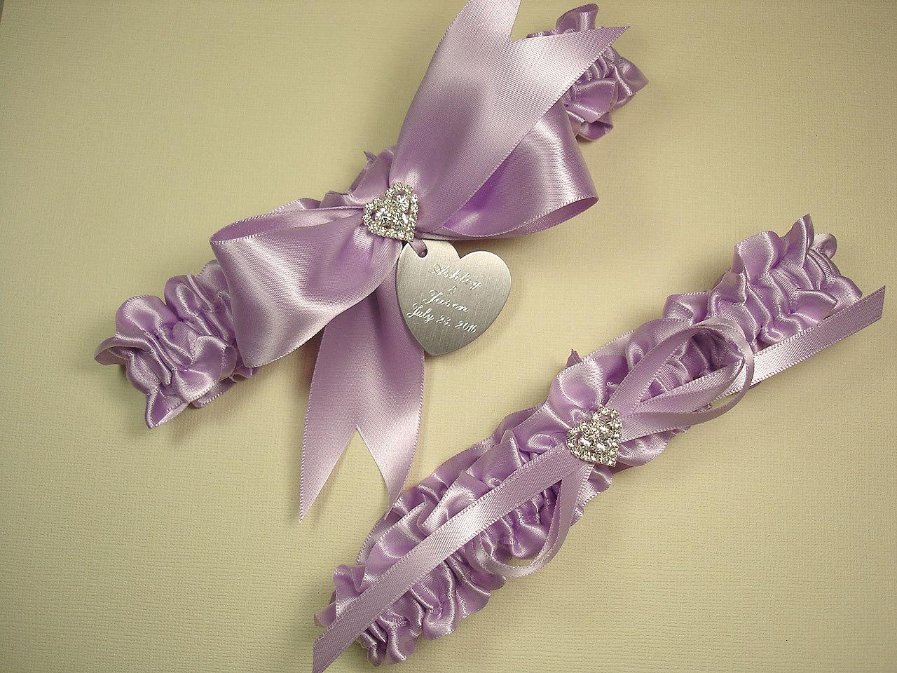Lavender Wedding Garter Set Personalized Wedding Garters In