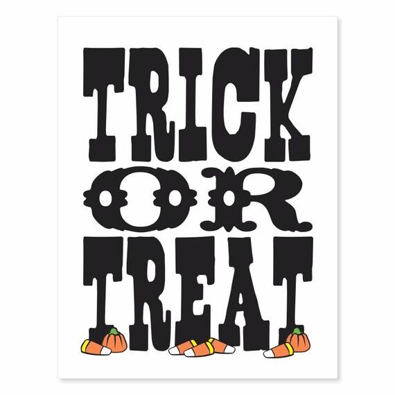 Printable Digital Download Trick or Treat v2 Typography