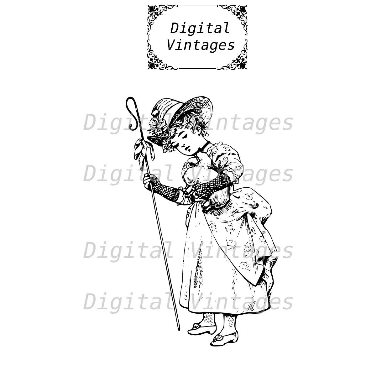 Little Bo Peep Fairy Tale Nursery Rhyme Design Vintage