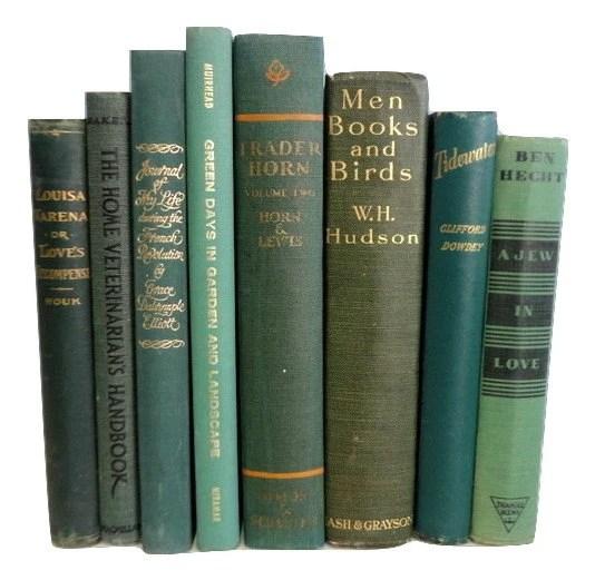 Green Decorative Books, Antique Books, Vintage Book Collection, Wedding Centerpiece, Book Decor, Interior Design,Forest, Myrtle
