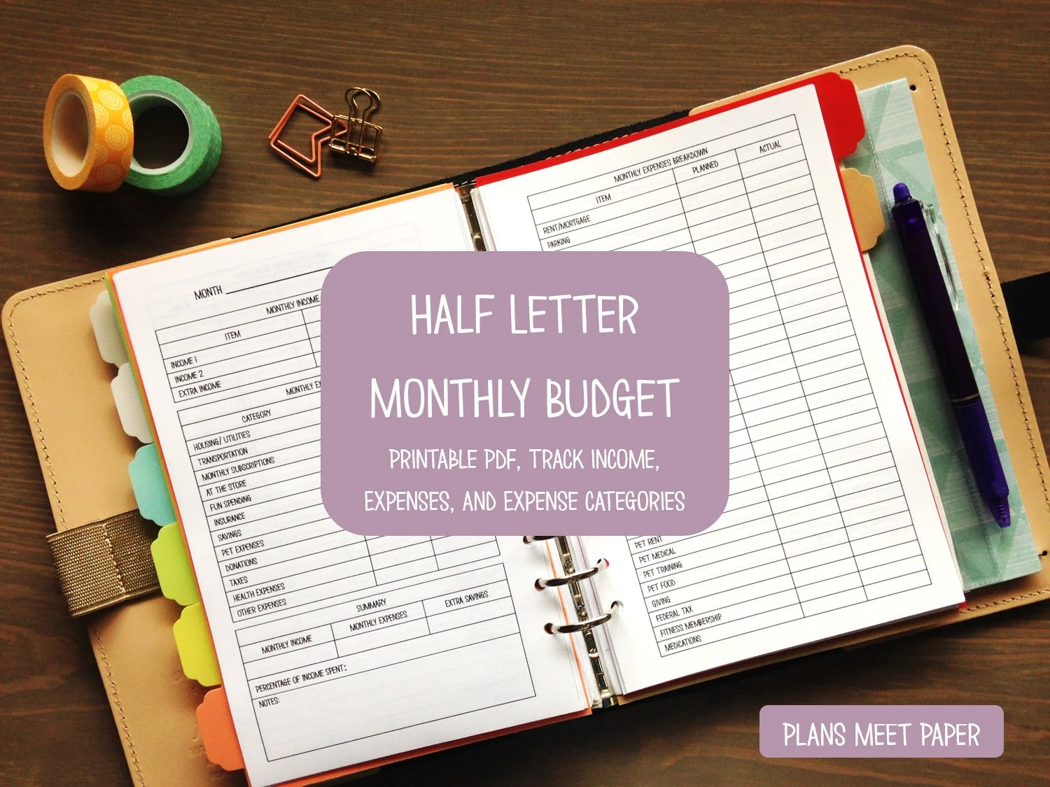 Printable Half Letter Monthly Budget
