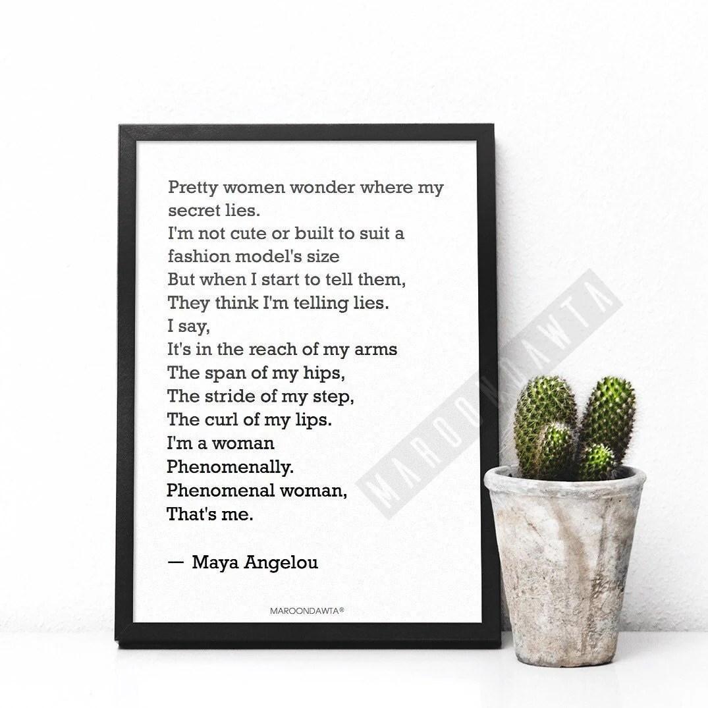 Phenomenal Woman Maya Angelou Poem Quote Artwork