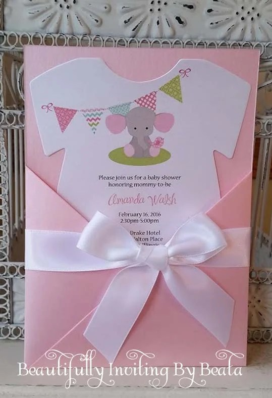 Yellow And Gray Elephant Baby Shower Invitations