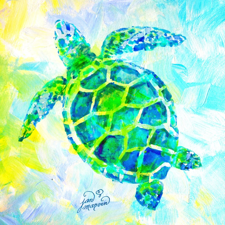 Sea Turtle Print Of Watercolor Painting Jan Marvin Wall Art