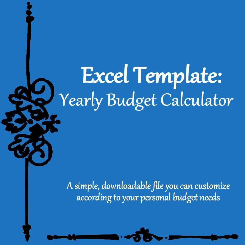 Yearly Monthly Budget Calculator Excel Spreadsheet Template