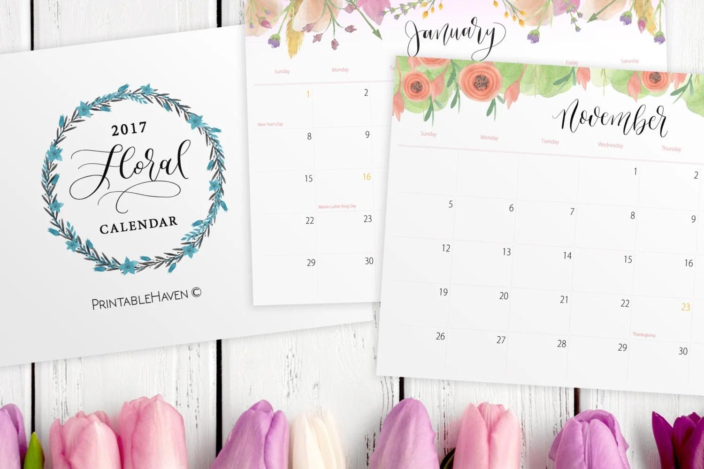 Printable Calendar Monthly Calendar Floral Printable