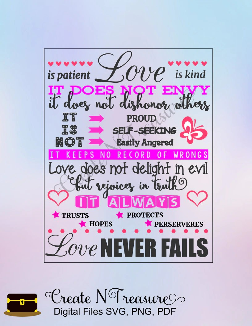 Download Love is Patient SVG Wedding gift SVG cutting file for