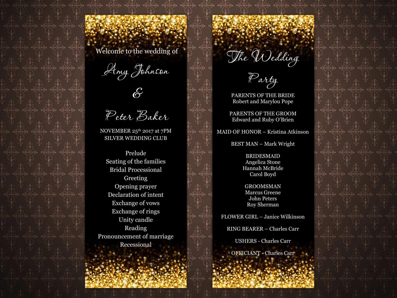 Black And Gold Glitter Wedding Program Templates Gold Glitter
