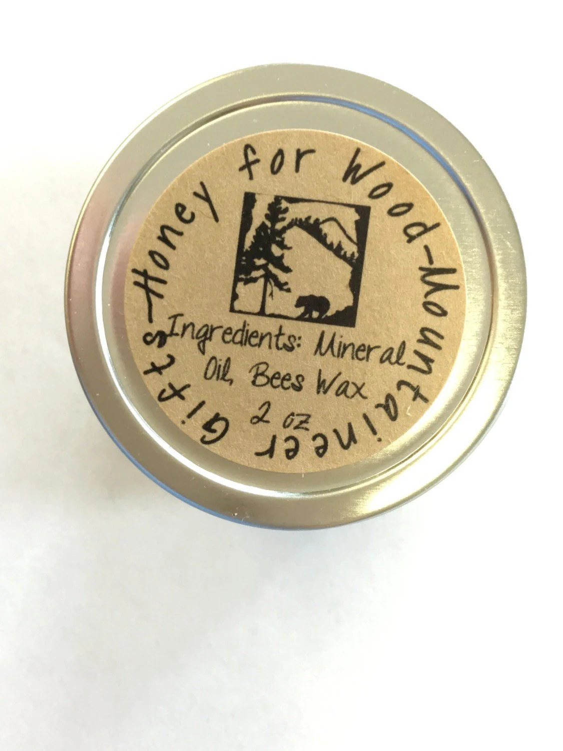 Honey for Wood blend of mineral oil and beeswax 2 ounces used as a finish for treenware or woodenware.