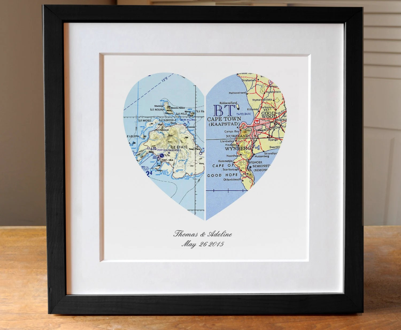 Anniversary Gift Wedding Gift Map Art Heart Map Engagement