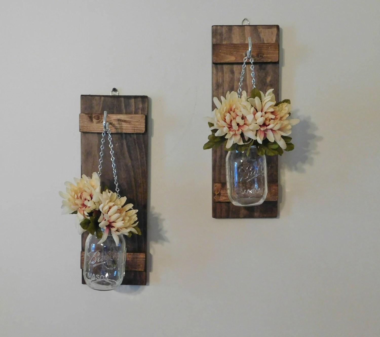Hanging Mason Jar Wall Sconce Flower Vase Candle Sconce Wall on Candle Wall Sconces With Flowers id=12876