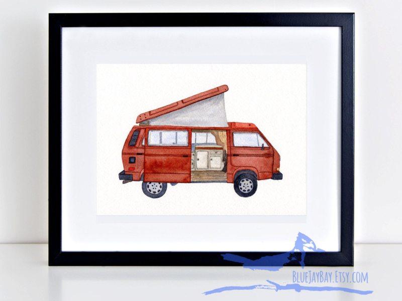 VW Vanagon Syncro T3 Westfalia 1987 Westy camper ~ Volkswagen custom watercolor painting ~ classic car wall art decor Caravelle Kombi van