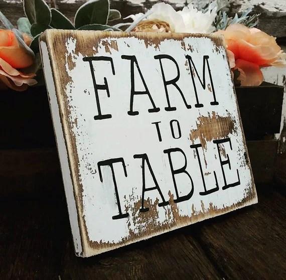 Farmhouse Kitchen Decor Farm To Table Sign Rustic Wood